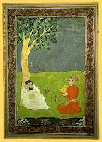 dervish in the garden, indian minature painting
