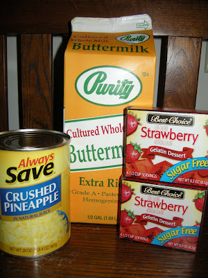 Recipe ingredients for buttermilk congealed salad.