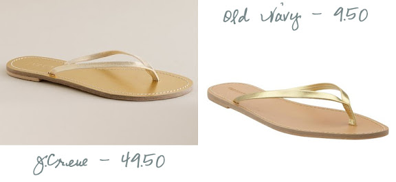 754024b2233f Shimmerveil Leather Capri Sandals - J.Crew -  49.50. Faux Leather Thong  Sandals - Old Navy -  9.50