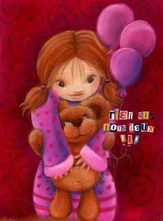 petite princesse fée en illustration avec un nounours dans les bras qui tient des ballons roses