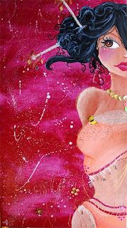 Une jeune femme princesse, fille de sultan richement ornée de perles, diamants, bijoux, piercing perles, à un regard malicieux, elle est très sensuelle. cette peinture cette illustration a été réalisée par l'illustratrice laure phelipon