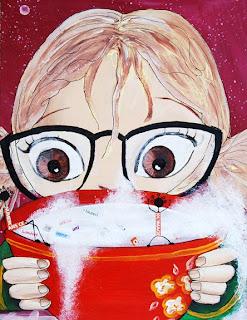 petit princesse fée fillette avec des couettes qui mange de la soupe illustratrice illustration peinture bol rouge avec des fleurs
