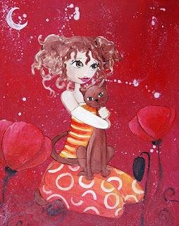 La princesse au chat : peintures acrylique