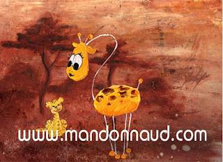 une girafe et un tigre de toutes les couleurs très décoratif en peinture par l'illustratrice laure phelipon pour illustrer le livre de valy