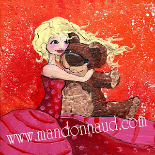 princesse dans une grande robe berce un ours en peluche illustration illustratrice