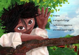 illustration par l'illustration laure phelipon pour un album jeunesse d'un petit garçon se prénommant Django