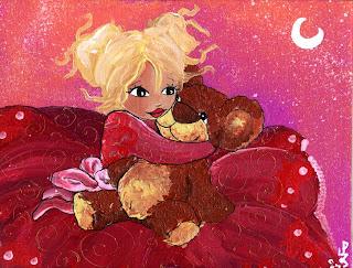 illustration petite princesse fée qui tient son nounours dans ses bras sur fond rose lune et étoile illustratrice laure phelipon