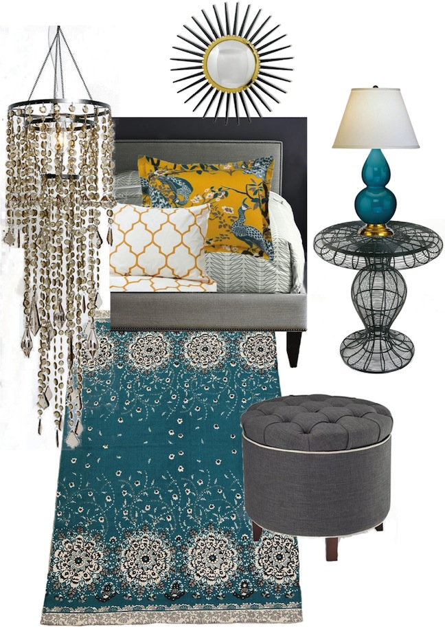 Knight Moves Peacock And Butternut Bedroom Mood Board