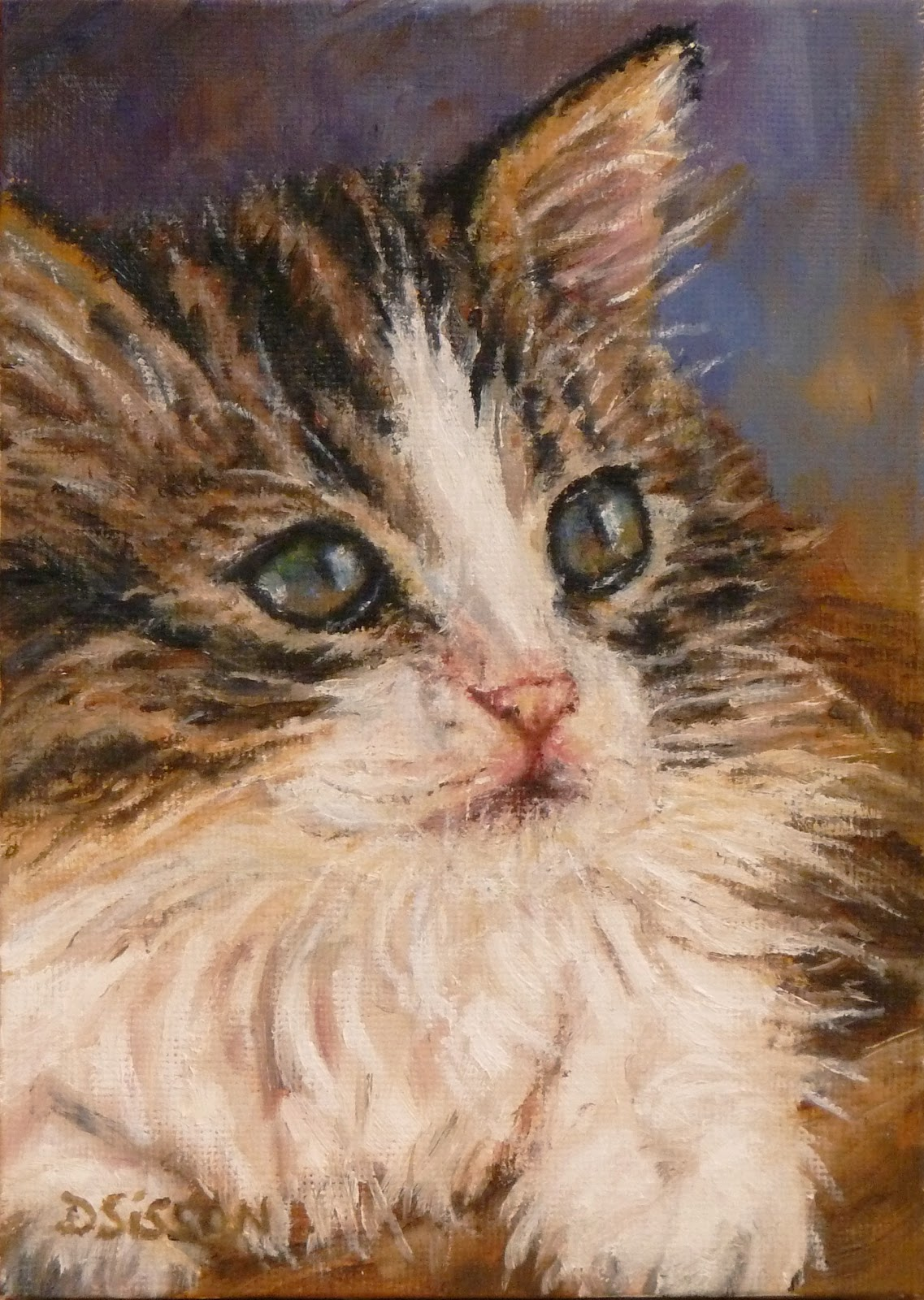 Daily Painting Projects: Tabby Kitten Oil Painting Pet ...