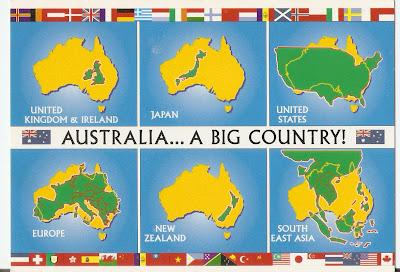 Australia Uk Map Comparison.Postcard A La Carte Australia Map Postcards