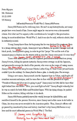 wwii essay about jimmy mcperson zero out of five i love this one peter writes an excellent example of what zero out of five is all about if you do not know the answer make it up