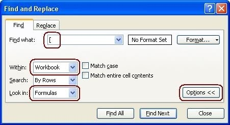 how to find external links in an excel workbook