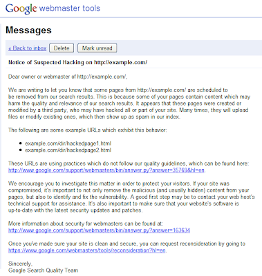 Official Google Webmaster Central Blog: Is your site hacked