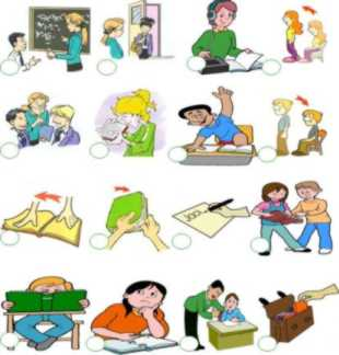 Classroom instruction and commands flashcards for kids.