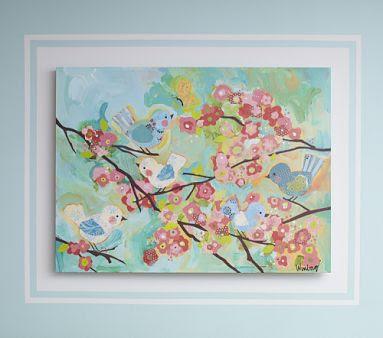 Winborg Sisters Design Cherry Blossom Birdies In Pottery