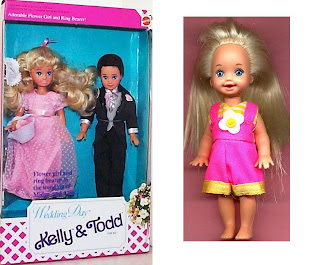 8b5a295c5a0d In 1996 Barbie and Kelly are together at Halloween time to trick or treat! Barbie wears black knit pants, white long sleeve sweatshirt with a pumpkin  on the ...