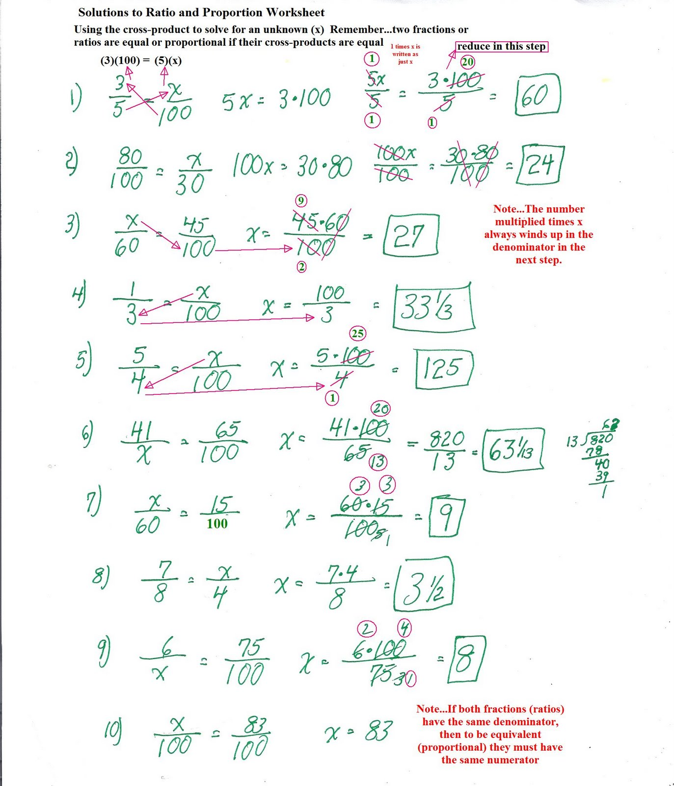 Math Worksheets Proportions
