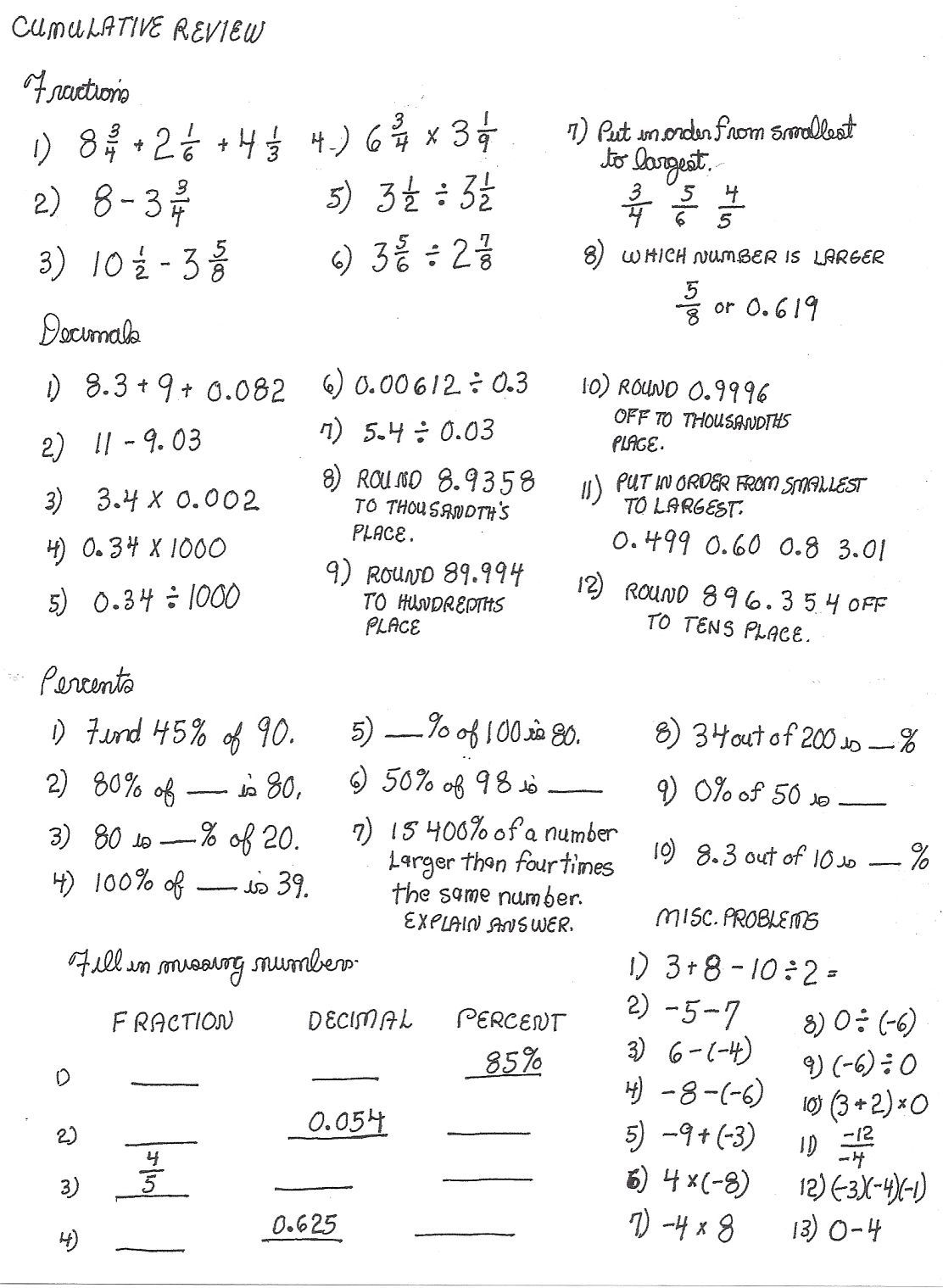 Computation Estimation Worksheet