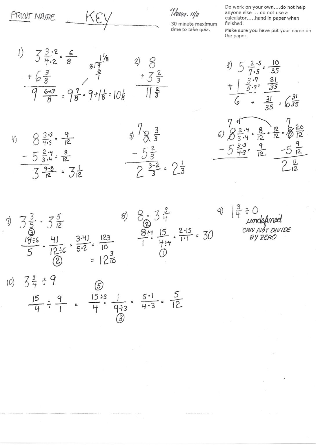 Cobb Adult Ed Math Fraction Operations Review Quiz 2nd