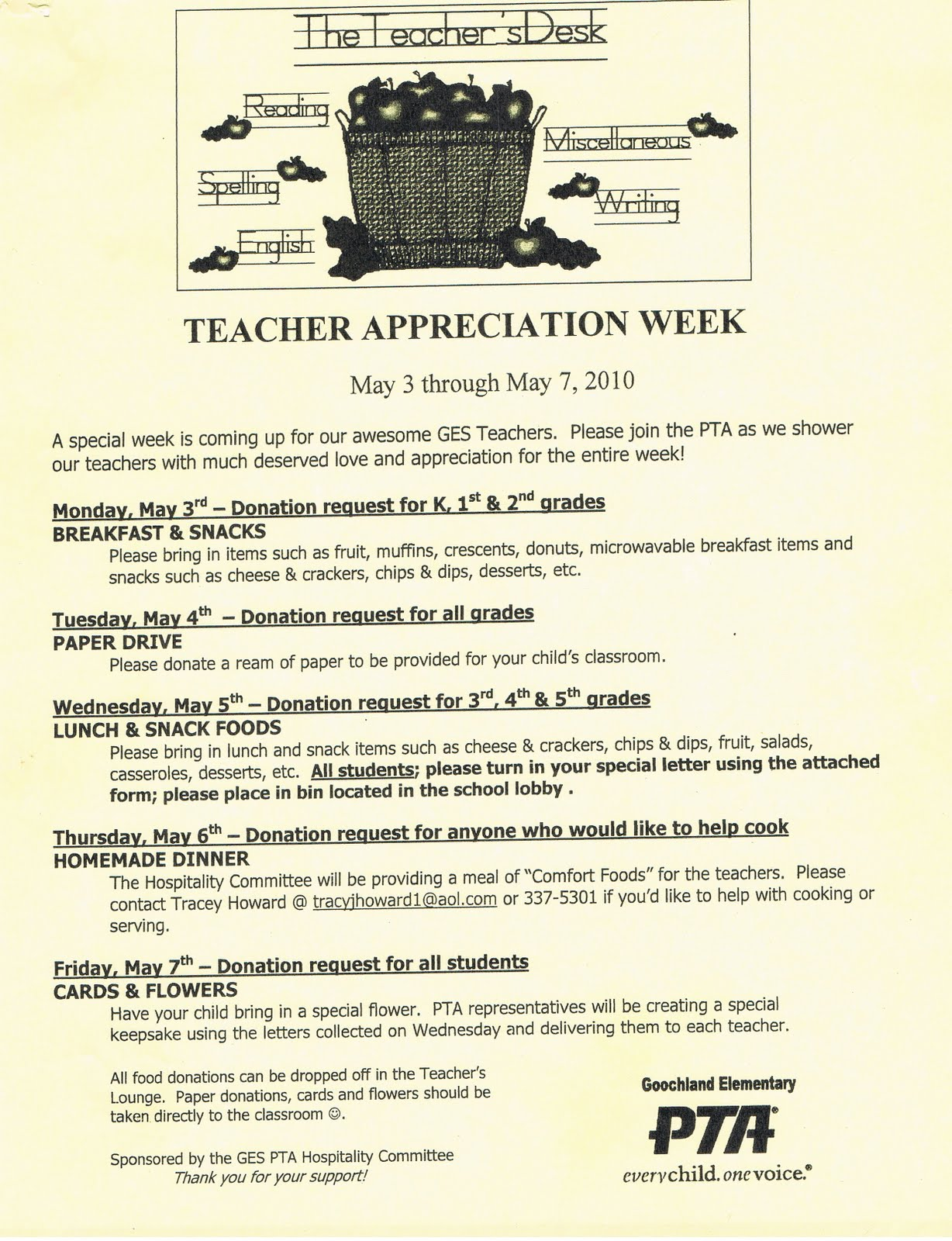 GES PTA HOSPITALITY COMMITTEE: TEACHER APPRECIATION WEEK