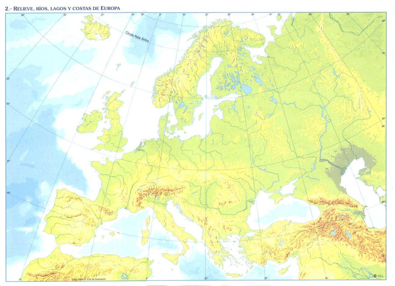 Mapa Fisico Mudo Rios De Europa Para Imprimir.Mapa Mudo Rios Europeos