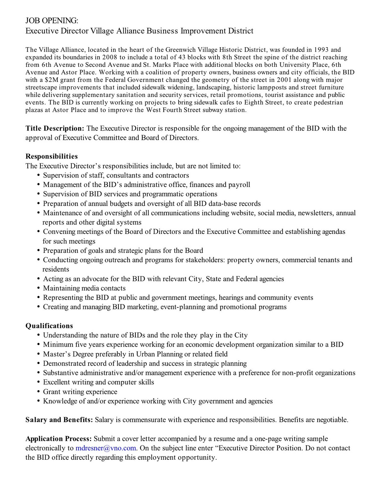 Non Profit Executive Director Cover Letter Sample