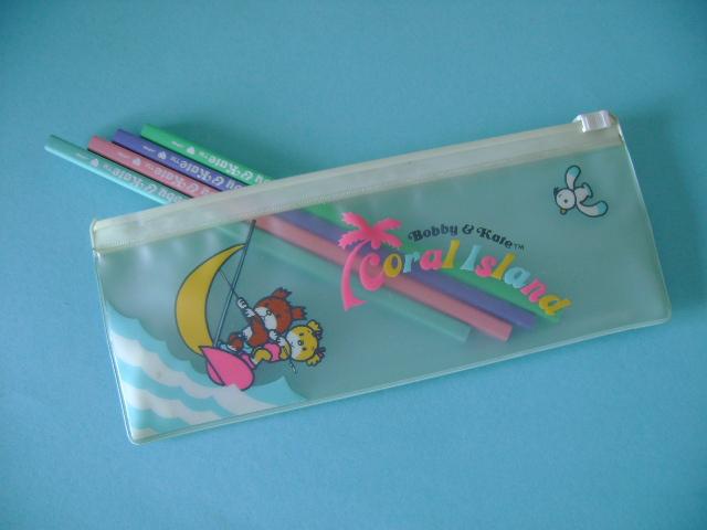 80s shop blue bobby kate pencil case