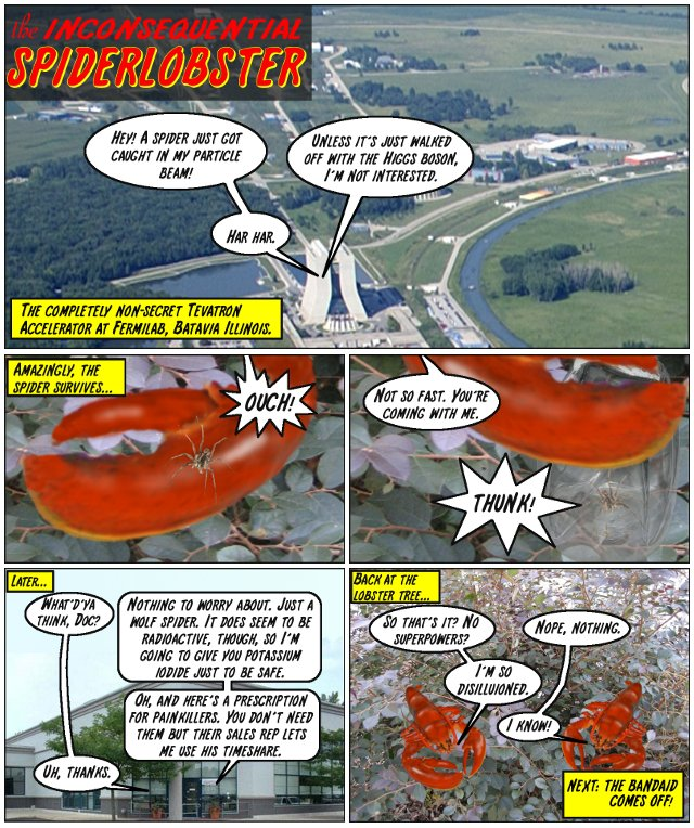 THE COMPLETELY NON-SECRET TEVATRON ACCELERATOR AT FERMILAB, BATAVIA ILLINOIS... HEY! A SPIDER JUST GOT CAUGHT IN MY PARTICLE STREAM! UNLESS IT'S JUST WALKED OFF WITH THE HIGGS BOSON, I'M NOT INTERESTED. HAR HAR.  AMAZINGLY, THE SPIDER SURVIVES... OUCH! NOT SO FAST. YOU'RE COMING WITH ME. THUNK!  LATER... WHAT'D'YA THINK, DOC? NOTHING TO WORRY ABOUT. JUST A WOLF SPIDER. IT DOES SEEM TO BE RADIOACTIVE, THOUGH, SO I'M GOING TO GIVE YOU POTASSIUM IODIDE JUST TO BE SAFE. OH, AND HERE'S A PRESCRIPTION FOR PAIN KILLERS. YOU DON'T NEED THEM BUT THEIR SALES REP LETS ME USE HIS TIMESHARE. UH, THANKS.  BACK AT THE LOBSTER TREE... SO THAT'S IT? NO SUPERPOWERS? NOPE, NOTHING. I'M SO DISILLUSIONED. I KNOW!