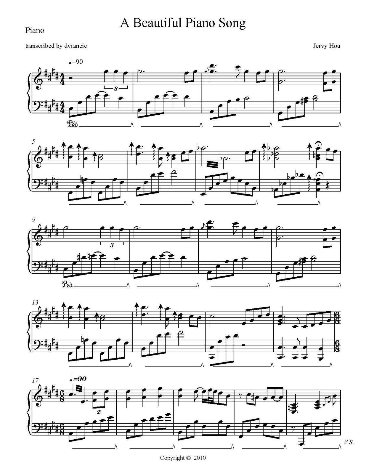 Beautiful Piano Song - Free Sheet Music