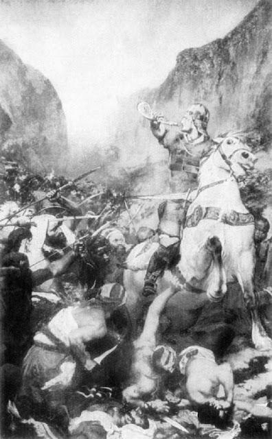 Roland toca o olifante apelando para Carlos Magno