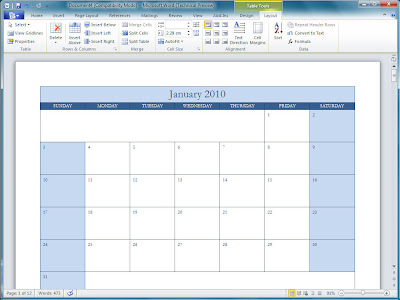 Office 2010 Office 2010 Calendar Templates
