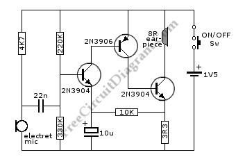 Circuit and Wiring Diagram: Single Cell 1.5V Hearing Aid