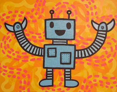Does anyone else think our garden is a great place for robots?  Painting by Carl Oxley III