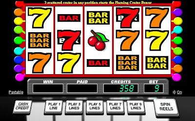 flaming crates slot machine