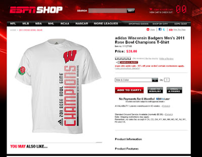 Wisconsin Rose Bowl Champions t-shirts