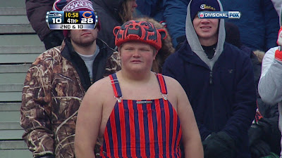 Bears fan in overalls