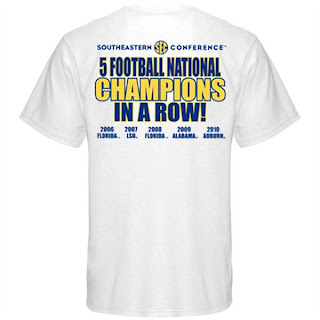 SEC five in a row t-shirt