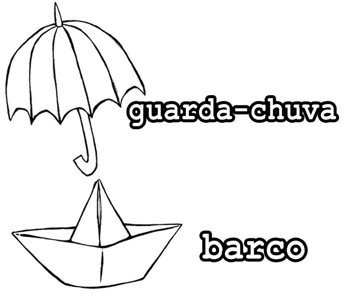 Atividades Infantil Desenhos Para Colorir Guarda Chuva E Barco