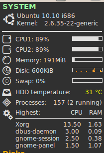 Both CPU running almost 100% on ubuntu at system conky