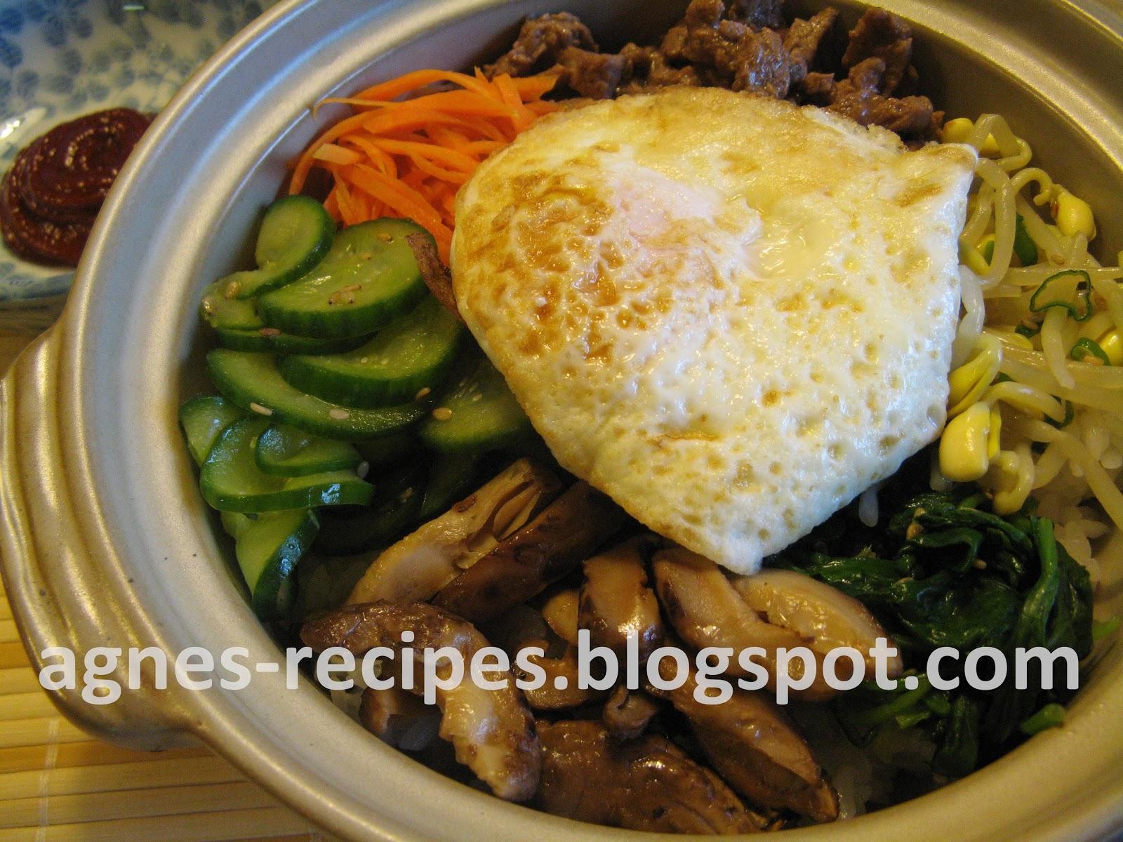 Agnes' Recipes: Dolsot BiBimBap 韓國石頭鍋飯