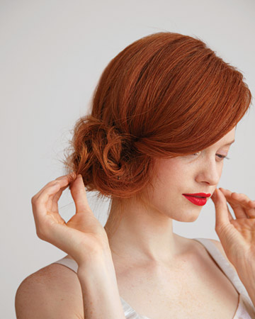 Sunshine and Bones Side Chignon Tutorial from Martha Stewart