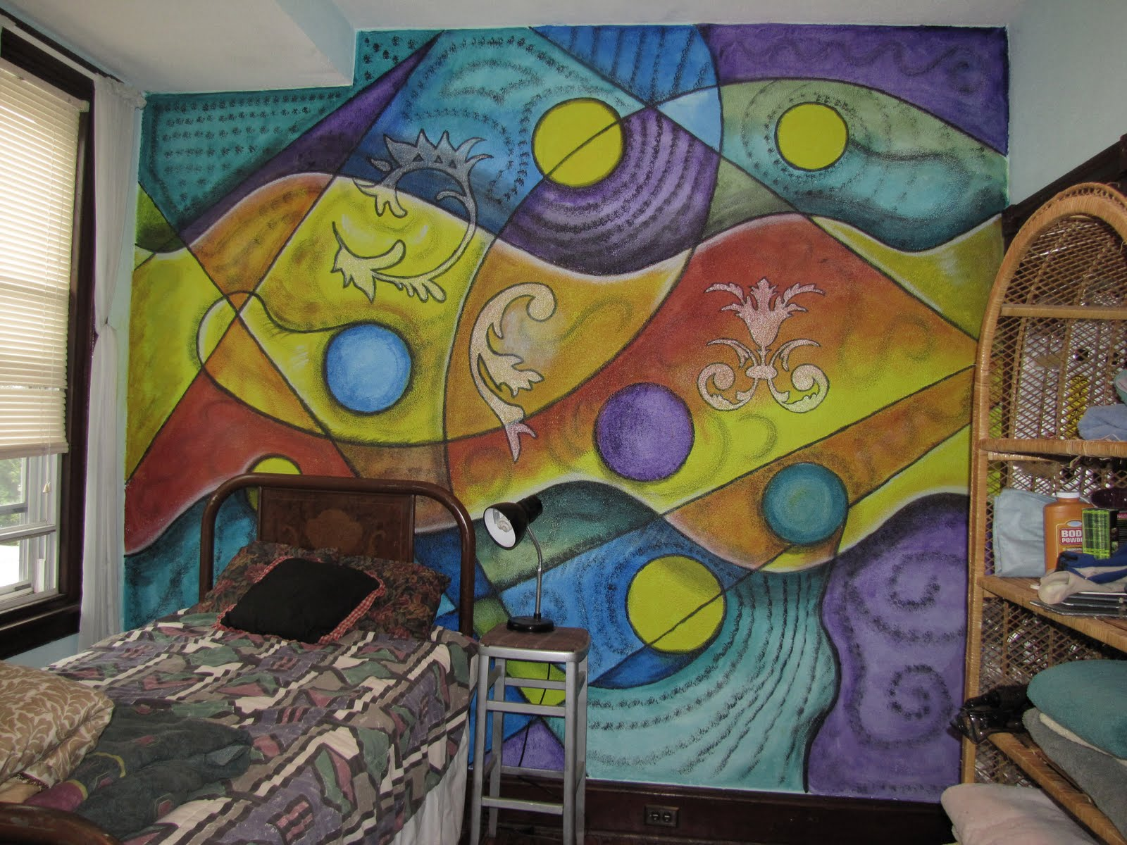 Painting a colorful abstract mural for Abstract mural painting