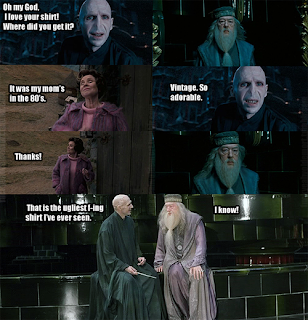 Harry Potter Voldemort Dumbledore Dolores Umbridge, oh my god, i love your shirt, where did you get it, it waas my moms in the 80s, vintage, so adorable, thanks, that is the ugliest fuckin shirt i ve ever seen, i know