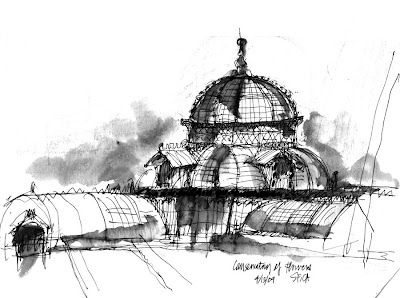 drawing architecture: Conservatory of Flowers, San