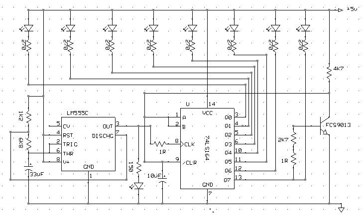 8 LED BERJALAN (RUNNING LED WITH 74LS164 SHIFT REGISTER