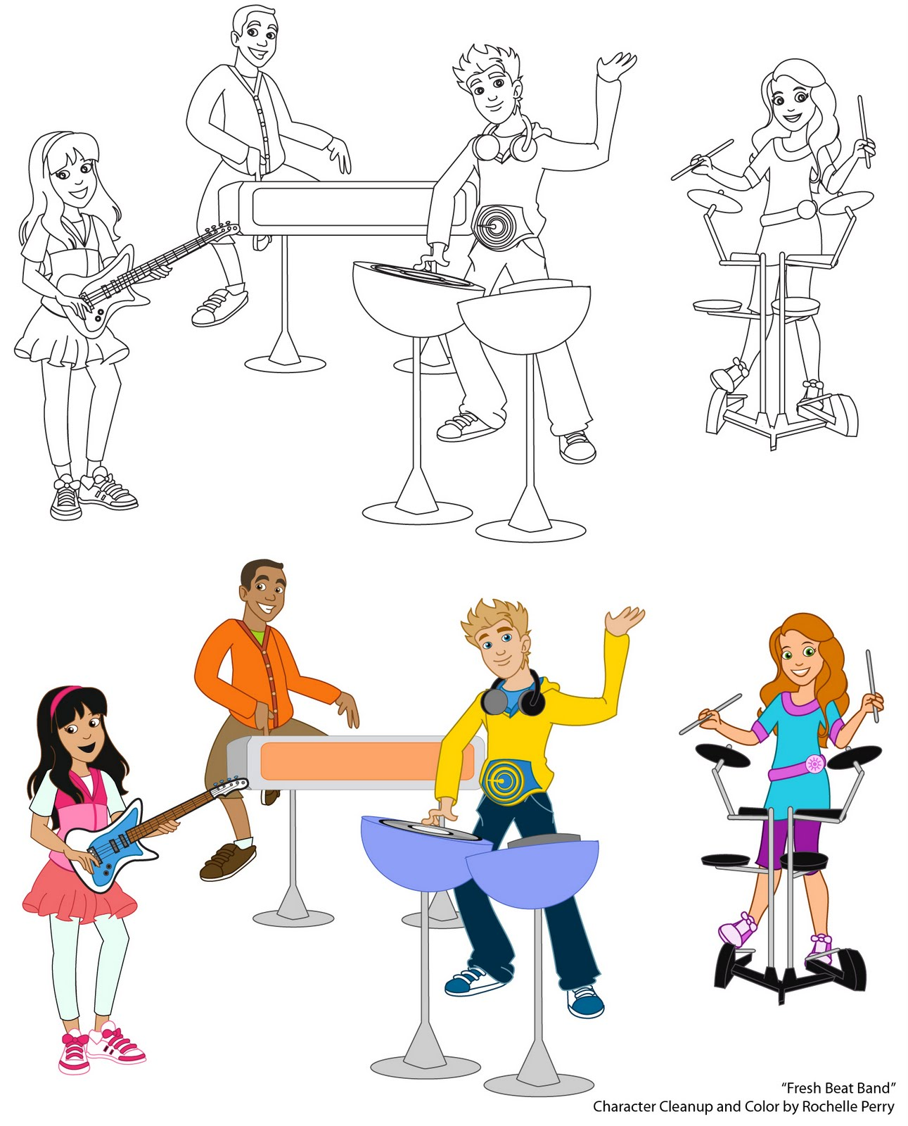 Pigment of your imagination fresh beat band character for Fresh beat band coloring pages