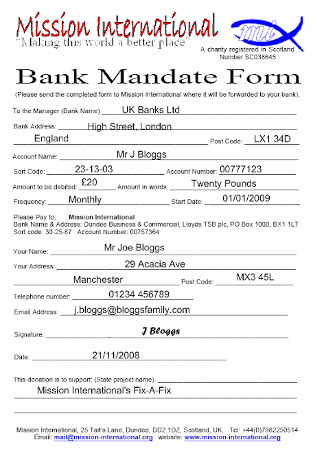 Bank Mandate form - Completed