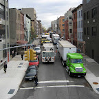 Southside Traffic Jam - Movie-shoot trucks slow traffic on Driggs at the bridge in Williamsburg.