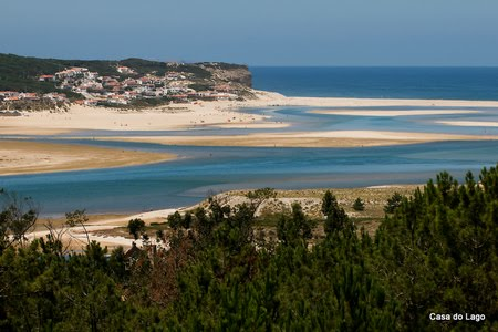 Foz do Arelho beach and Obidos mouth lagoon
