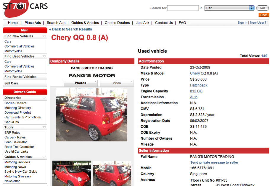 My Knowledge Bank Buying A Used Car In Singapore Do Your Maths